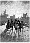 It was a wonder, vintage engraved illustration. Jules Verne Cesar Cascabel, 1890. poster