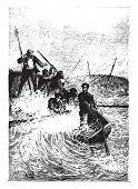 The whale nearly capsized, vintage engraved illustration.  Jules Verne, a 15 year old captain.  poster