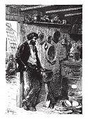 It was a taciturn man, vintage engraved illustration.  Jules Verne, a 15 year old captain.  poster