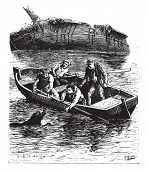 The animal swam painfully toward the boat, vintage engraved illustration.  Jules Verne, a 15 year old captain.  poster