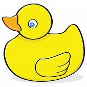 Cartoon illustration of a yellow rubber duck poster