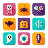 Flat Halloween Trick or Treat Square App Icons Set. Scary Autumn Halloween Party Holiday Colorful Objects. Bundle of Tricks and Treats Items. Icons for Website and Mobile Application poster