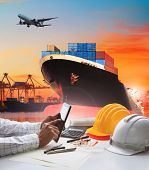 hand of working man in shipping logistic freigh cargo transport business poster