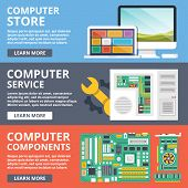 Computer store, computer service, computer components, parts flat illustration concept set. Modern flat design concepts for web banners, web sites, printed materials, infographics. Vector illustration poster