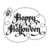 Calligraphy inscription Happy Halloween. Unique lettering handmade. Vector illustration. poster