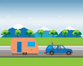 Family traveling by car with trailer. Family summer vacation tourism and journey. Vector illustration. Elements for design. poster