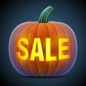 Jack-o-lantern with word SALE. Qualitative vector illustration for sale vegetables halloween agriculture discount autumn holidays olericulture etc. It has transparency masks blending modes gradients poster