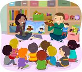 Stickman Illustration of School Kids Listening to a Story Narrated by Puppets poster