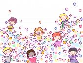 Doodle Illustration of Stickman Kids Playing in a Ball Pit poster