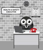 Comical bird Health and Safety Executive responsible for enforcing the Health and Safety at Work Act 1974 with work safe be safe calendar on wall poster