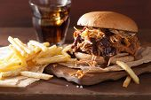 homemade pulled pork burger with coleslaw and bbq sauce poster