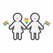 Gay marriage Pride symbol Two contour women with lips and flags LGBT icon Rainbow heart Flat design Vector illustration poster