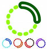 Preloader or buffer shapes circular elements symbols. User interface concept. Step completion phase progress indicators segmented circles. poster