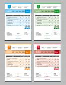 Set of Vector Invoice Design Templates. 4 Color Themes poster