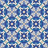 Gorgeous seamless patchwork pattern from dark blue and white Moroccan, Portuguese  tiles, Azulejo, ornaments. Can be used for wallpaper, pattern fills, web page background, surface textures. poster
