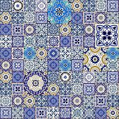 Mega Gorgeous seamless patchwork pattern from colorful Moroccan tiles, ornaments. Can be used for wallpaper, pattern fills, web page background, surface textures. poster