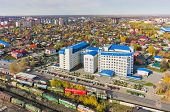 Tyumen, Russia - September 24, 2015: Aerial view onto building of tax inspection poster