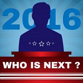 Election Debates Campaign Ad Flyer. Who is Next President - Social Promotion Banner. American Flag's Symbolic Elements - Red Stripes and Blue Stars. Digital vector illustration poster