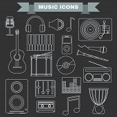 Music Instruments and Gadgets Big icon set. Microphone Headphones Tape Player Clarinet Guitar Drums Electric Piano Cd disk Equalizer Loudspeakers Djembe. Digital vector illustration. poster