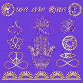 Mystic spiritual symbols, Yoga logo, yoga icons, gold lines tattoo set: Ohm sign, Buddha hand, Ying Yang symbol, Lotus flower, Infinity sign, Peace and love symbol, Ginkgo leaf Metallic gold lines poster