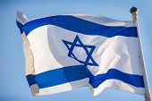 Israel official flag blue white with magen david on the blue sky background. poster