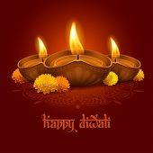 Vector illustration of burning oil lamp diya on Diwali Holiday, ancient Hindu festival of lights, decorated with flowers. Original calligraphic inscription Happy Diwali and space for your text. poster