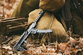 Soviet WW2 weapon of infantry. Submachine Gun PPS-43. poster