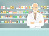 Modern flat vector illustration of a smiling aged male pharmacist at the counter in a pharmacy opposite of shelves with medicines. poster
