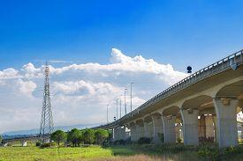 Concrete Highway Bridge And Power Lines