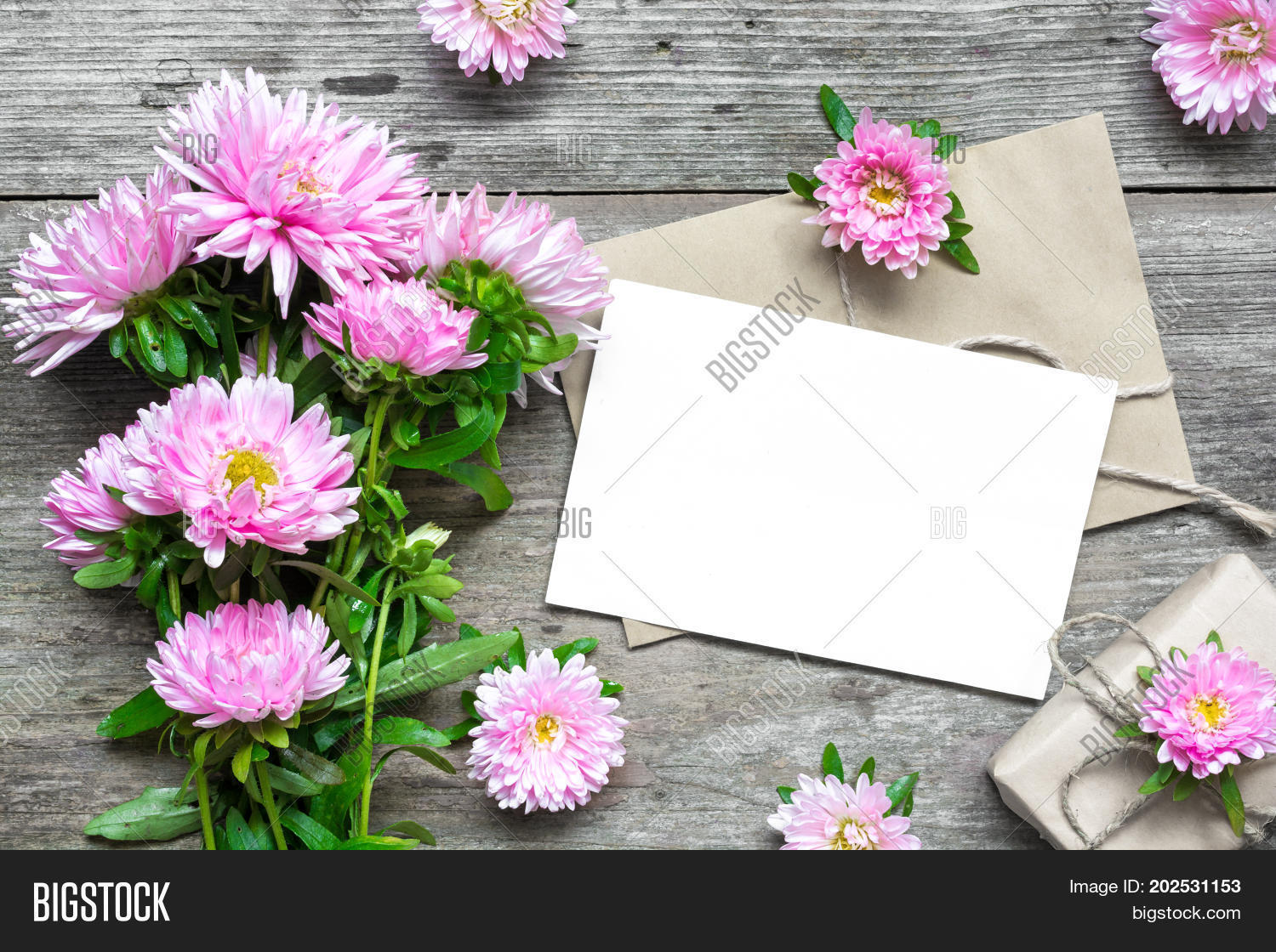 Blank white greeting image photo free trial bigstock blank white greeting card with pink aster flowers bouquet and envelope with flower buds and gift izmirmasajfo