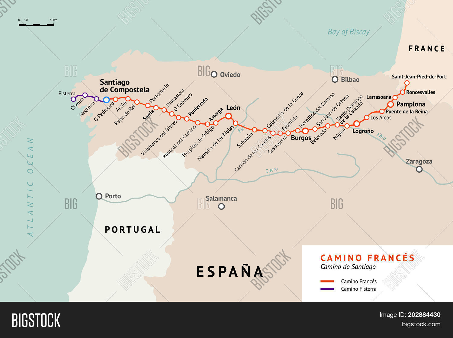 French Way Map Vector Photo Free Trial Bigstock