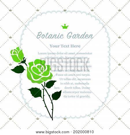 Colorful Watercolor Texture Vector Nature Botanic Garden Memo Frame Gree Rose