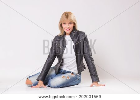 Retro Styled Mature Woman, White Background.