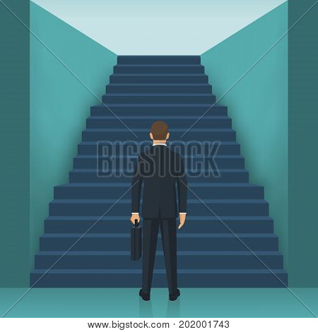 Businessman is climbing the stairs. Business ambitions. Concept success. Career ladder. Wait up. Vector illustration flat design. Isolated on background. Growth at work. Road to future.