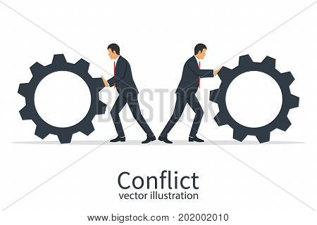 Conflict cooperation concept. Disagreements of businessmen. Business problems in teamwork. Two businessmen twist cogwheels. Vector illustration design. Pushing cogwheel. Symbol of protest.