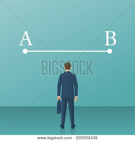 Businessman in suit standing in front of line between points A and B. Way from point A to point B on wall. Concept problems solutions. Vector illustration flat design. Isolated on background.