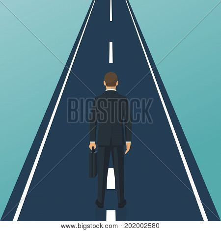 Human is standing on road. Way forward. Business metaphor. Businessman in suit with briefcase. Vector illustration flat design. Isolated on white background. Straight road with white markings.