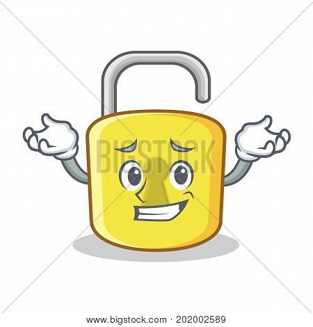 Grinning yellow lock character mascot vector illustration