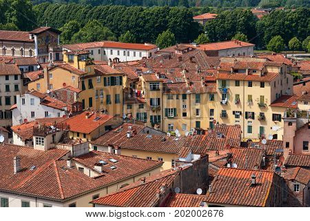 LUCCA, ITALY - MAY 24, 2017: Aerial view of the small medieval town of Lucca, Toscana (Tuscany), Italy, Europe. View from the Guinigi tower