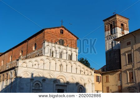 The Romanesque Church of Santa Maria Bianca, also known as Santa Maria Forisportam, in Lucca, Tuscany, Italy