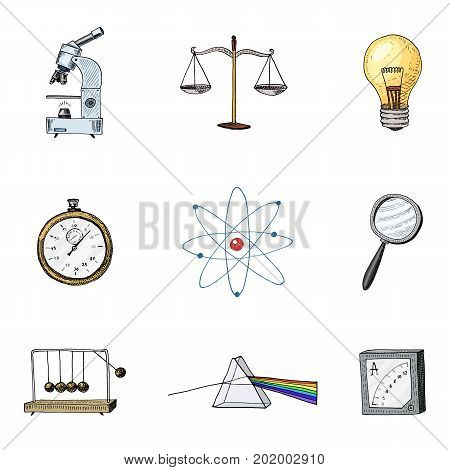 Atom and prism with perpetual motion, compass and lightbulb. engraved hand drawn in old sketch and vintage symbols. calculations physics Back to School Elements of Science and laboratory experiments