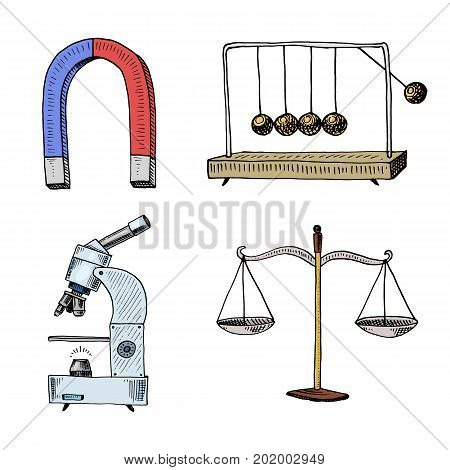 Magnet and perpetual motion machine, microscope and light bulb. engraved hand drawn in old sketch and vintage symbols. calculations physics Back to School of Science and laboratory experiments