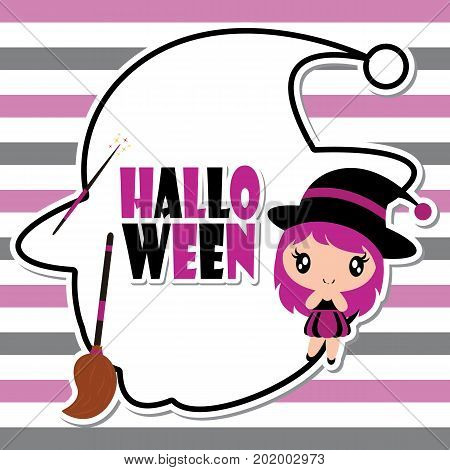 Cute witch girl on witch hat frame on striped background vector cartoon illustration for halloween card design, wallpaper and kid t-shirt design