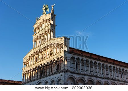 Details of the facade of Church San Michele in Foro (Saint Michael) in Lucca, Italy.