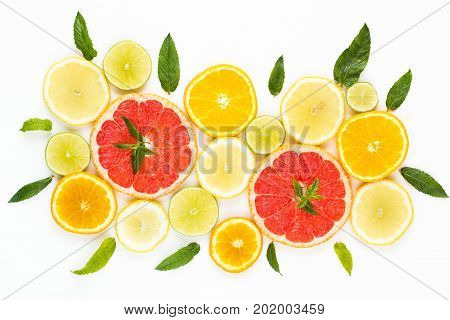 Citrus Food Pattern On White Background - Assorted Citrus Fruits With Mint Leaves