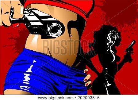 beautiful girl in a blue shorts with two guns vector