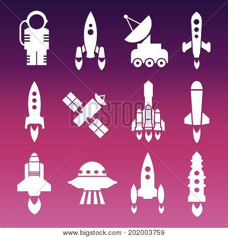 White shuttle, rockets and space techics icons. Vector ilustration flat