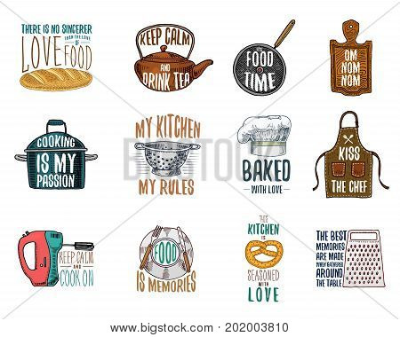 Apron and saucepan, bagel and wooden board with hood. Baking or dirty kitchen utensils, cooking stuff. logo emblem or label, engraved hand drawn in old sketch and vintage style