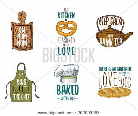 Apron and saucepan, bagel and wooden board with hood, pan and kettle. Baking or dirty kitchen utensils, cooking stuff. logo emblem or label, engraved hand drawn in old sketch and vintage style