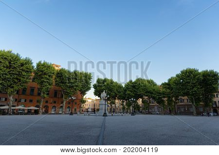 LUCCA, ITALY - MAY 23, 2017: Piazza Napoleone (Napoleone square).